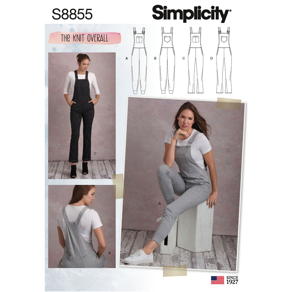 Simplicity Pattern 8855 Misses' Knit Overalls Sewing Pattern from Jaycotts Sewing Supplies