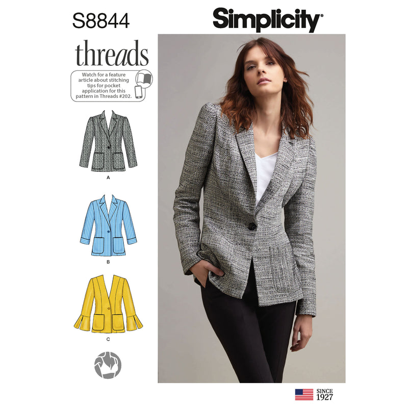 Simplicity Pattern 8844-misses miss petite unlined blazer pattern