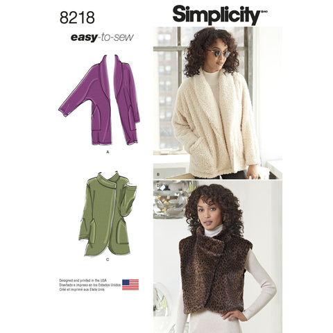 Simplicity S8218 Misses' Easy-to-Sew Jackets and Vest