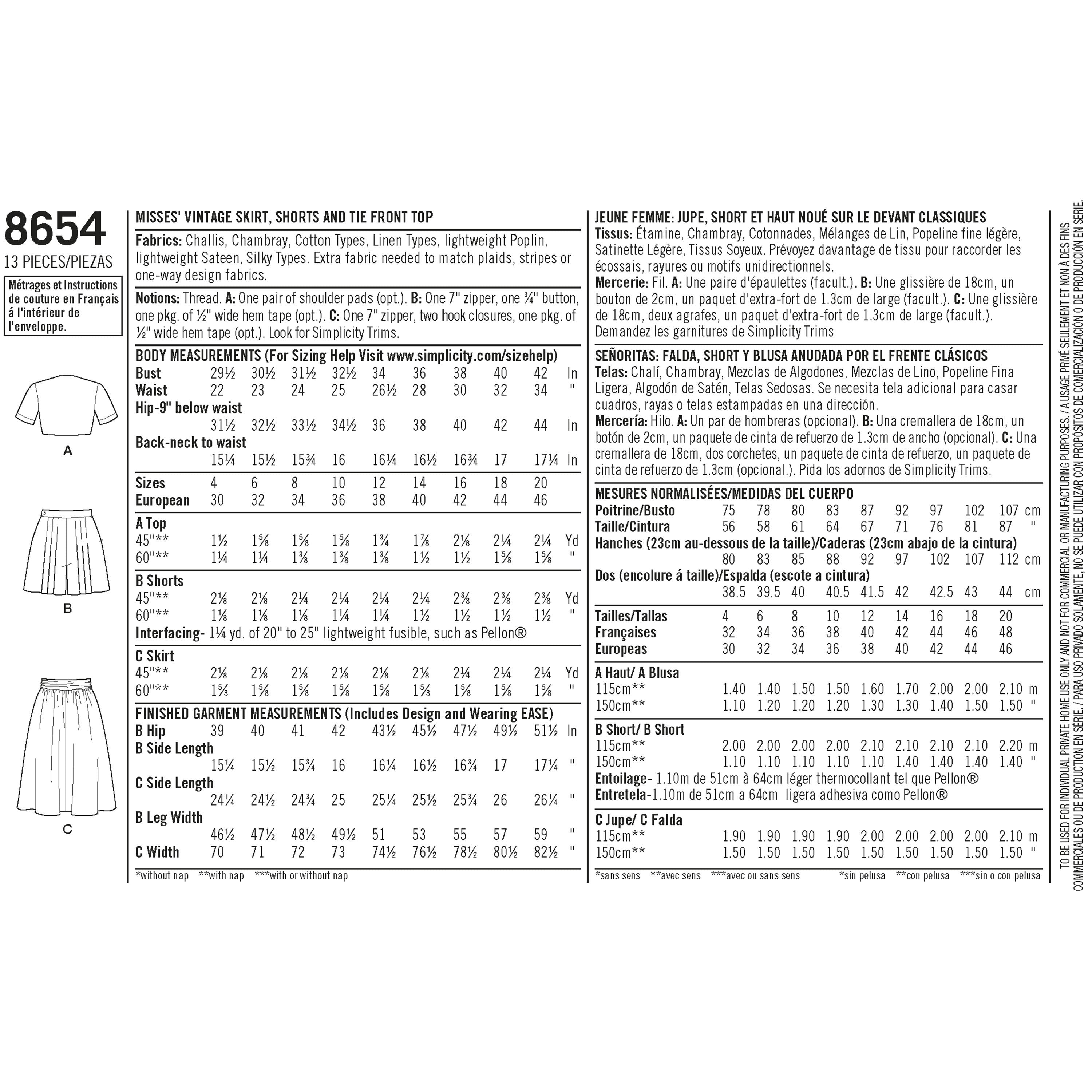 S8654 Vintage Pattern | Skirt, Shorts and Tie Top