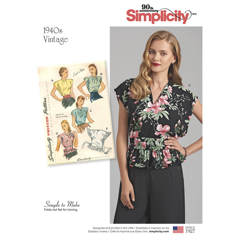 Simplicity Pattern 8593 Vintage 1940's simple to make poncho blouse