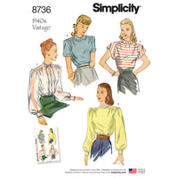 Simplicity Pattern 8736 vintage blouses from Jaycotts Sewing Supplies