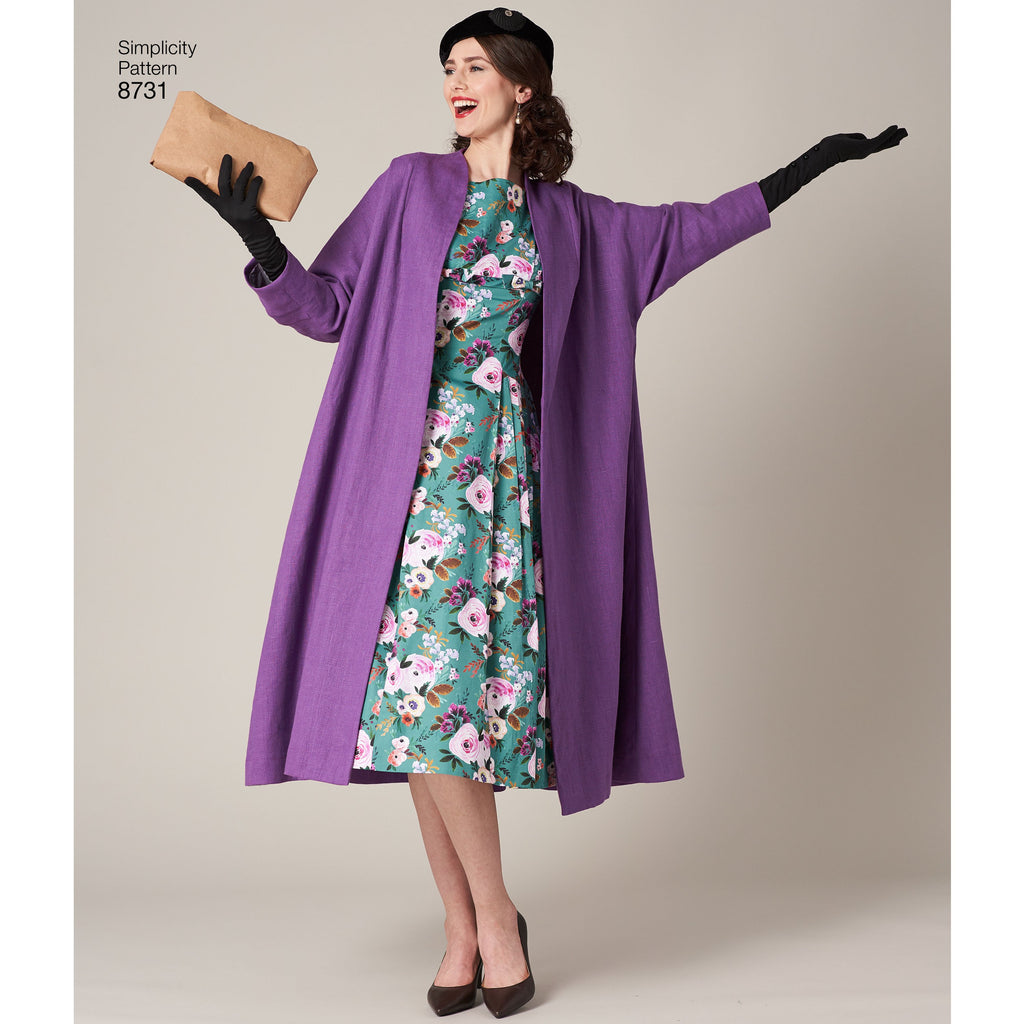 Simplicity Pattern 8731 vintage dress and lined coat