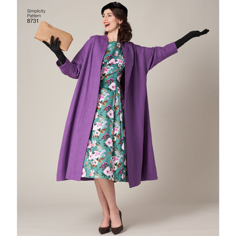 S8731 Vintage Dress and Lined Coat Pattern