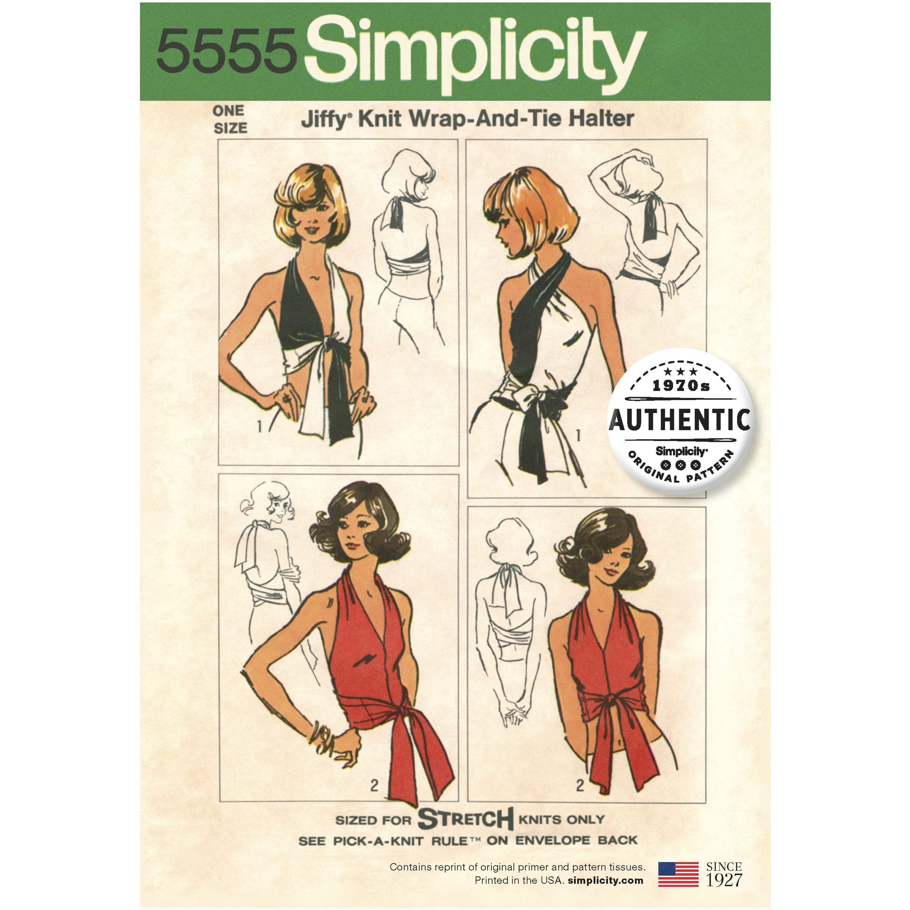 S5555 Women's Vintage  Jiffy Top | Knit Wrap & Tie