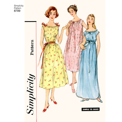 Simplicity Pattern 8799 Simple to Make 1950s gowns