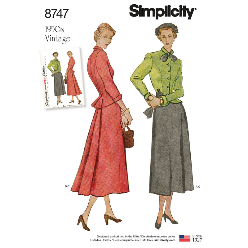 Simplicity Pattern 8747 Women's two piece suit dress