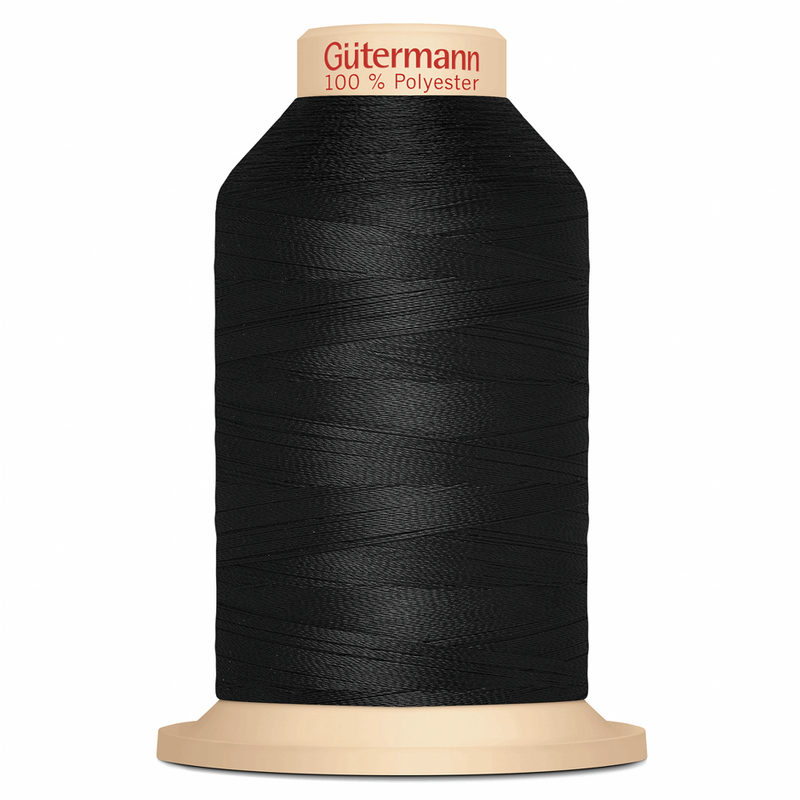 Black Gütermann Overlock Thread - TERA 180 | 2000m from Jaycotts Sewing Supplies