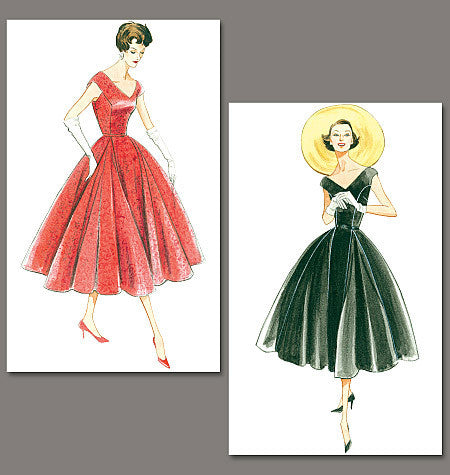 V1172 Misses'/Misses' Petite Dress and Belt | Average | Vintage 1950s