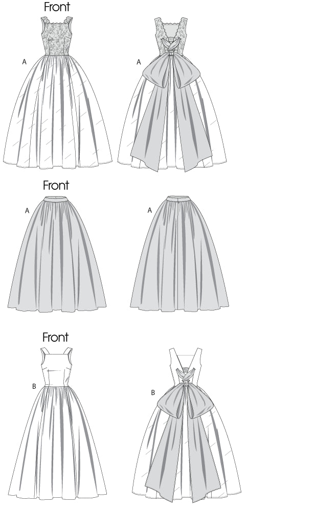 V8729 Vintage 1950s Wedding Dress & Underskirt | Advanced