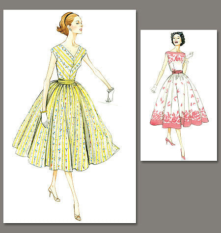 V8789 Misses'/Misses' Petite Dress and Cummerbund | Easy | Vintage 1950s