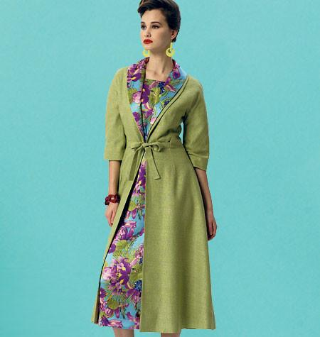V8875 Misses' Dress, Belt, Coat and Detachable Collar | Average | Vintage 1950s
