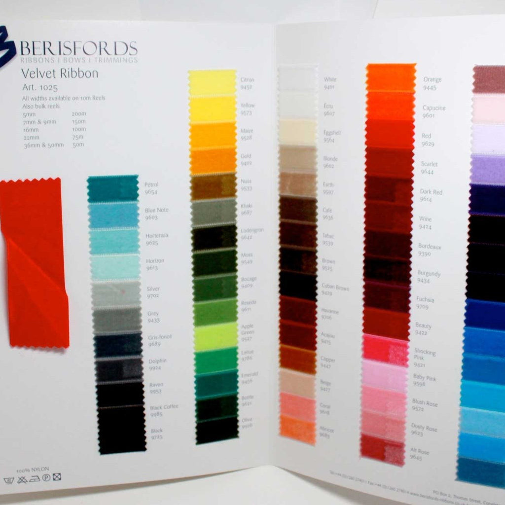 Berisfords Velvet Ribbon: Sample Card
