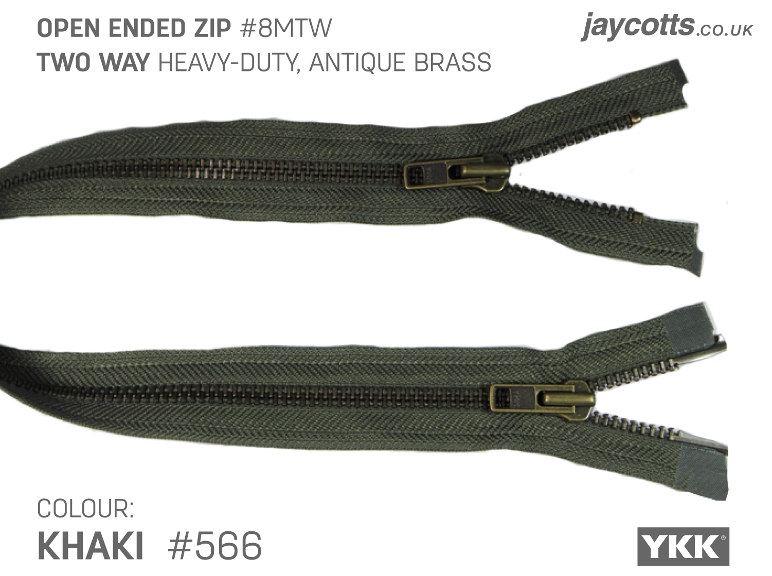 YKK Open End Zip - TWO WAY METAL - Colour 566 KHAKI