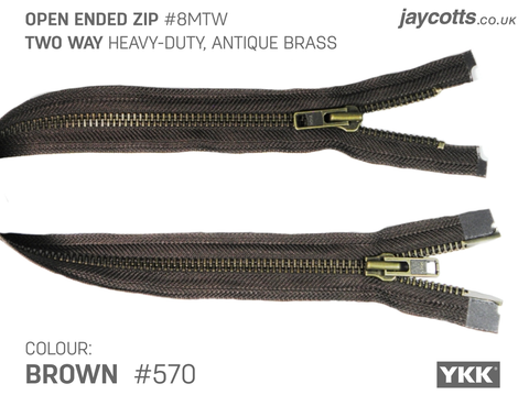 YKK Open End Zip - TWO WAY METAL - Colour 570 Brown