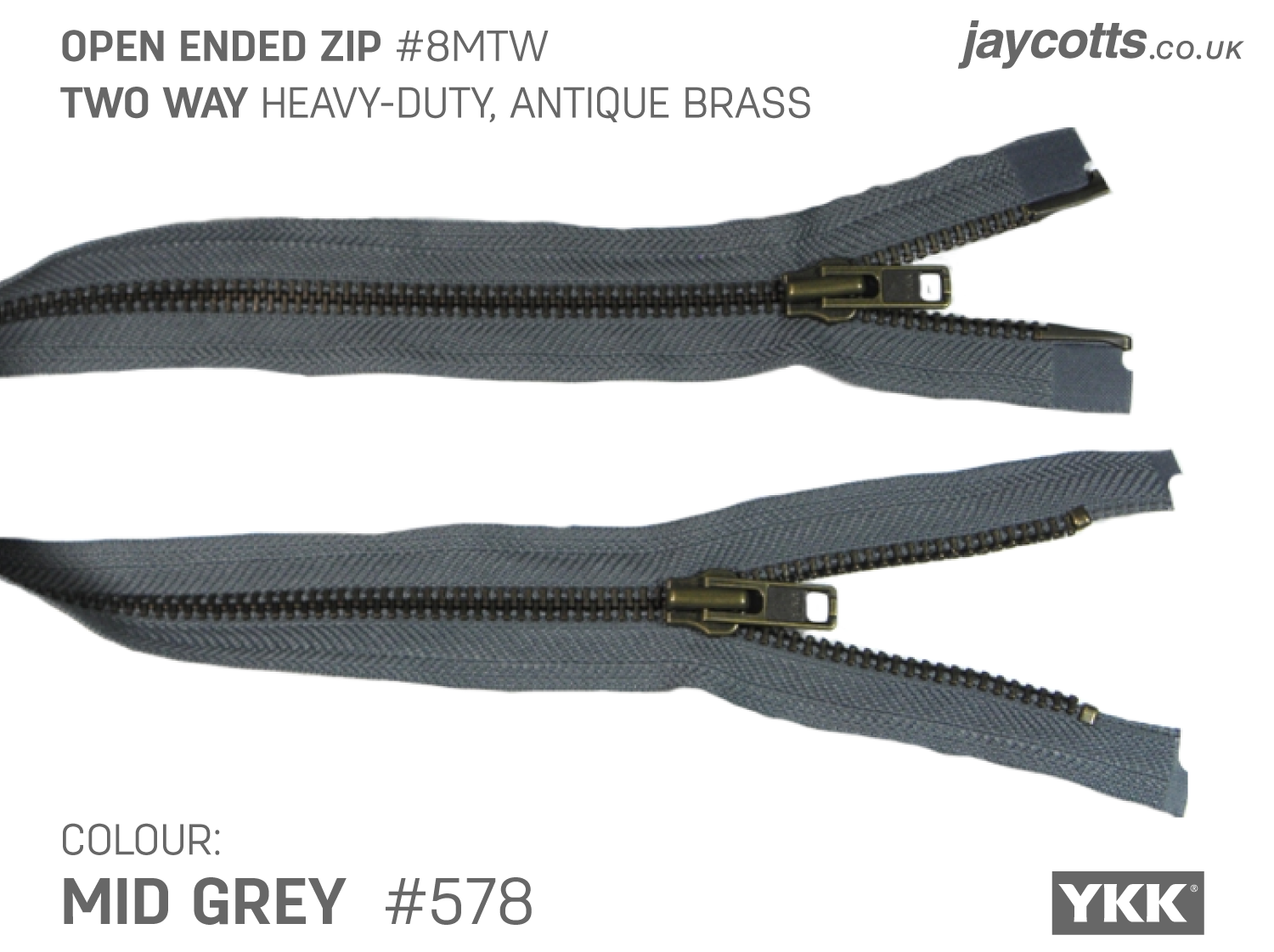 YKK Open End Zip - TWO WAY METAL - Colour 578 Mid Grey