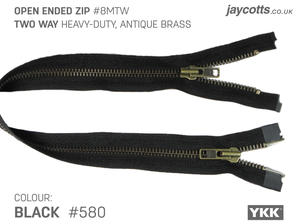 YKK Open End Zip - TWO WAY METAL - Colour 580 BLACK