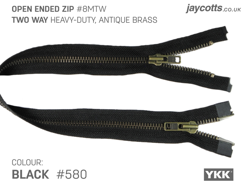 YKK Open End Zip - TWO WAY METAL - Colour 580 BLACK from Jaycotts Sewing Supplies