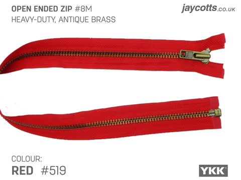 YKK Open End Zip - Heavy Duty, Antique Brass | Colour 519 Red