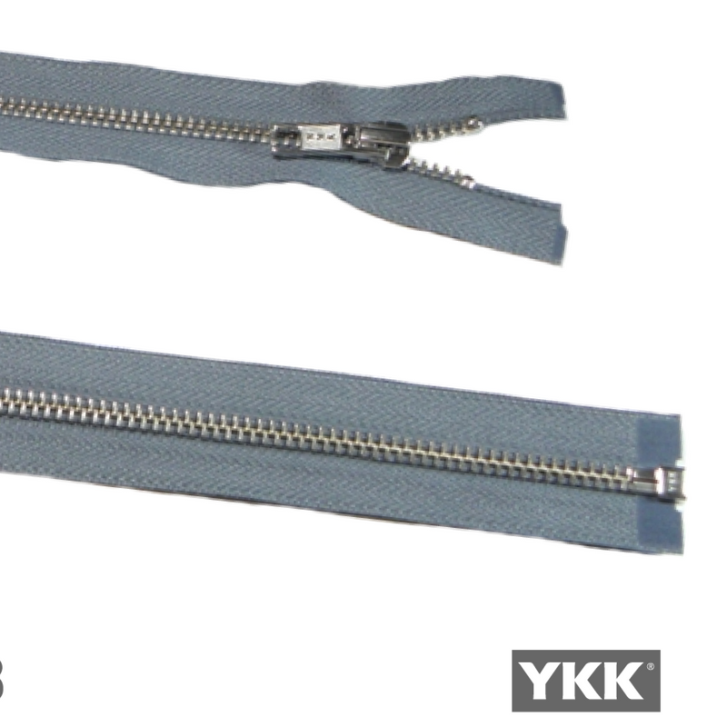 YKK Open End Zip - Medium, Silver Teeth | Mid Grey from Jaycotts Sewing Supplies