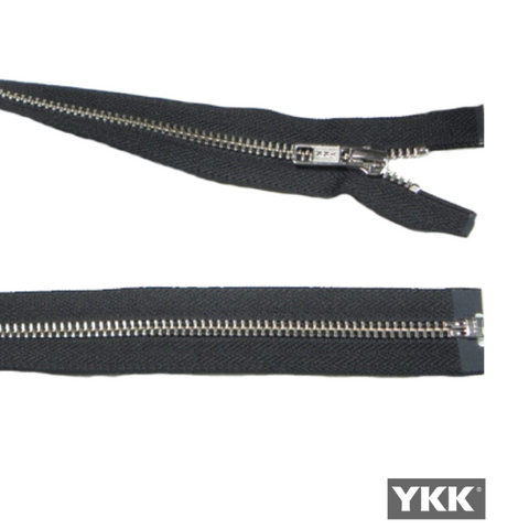 YKK Open End Zip Silver Teeth | BLACK