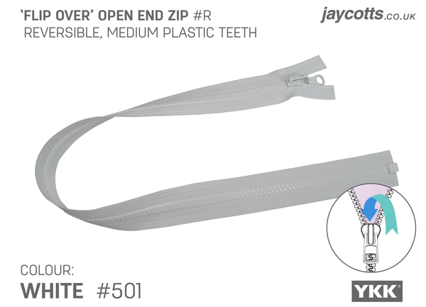 Reversible Open End Zip WHITE