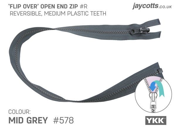 Reversible Open End Zip MID GREY
