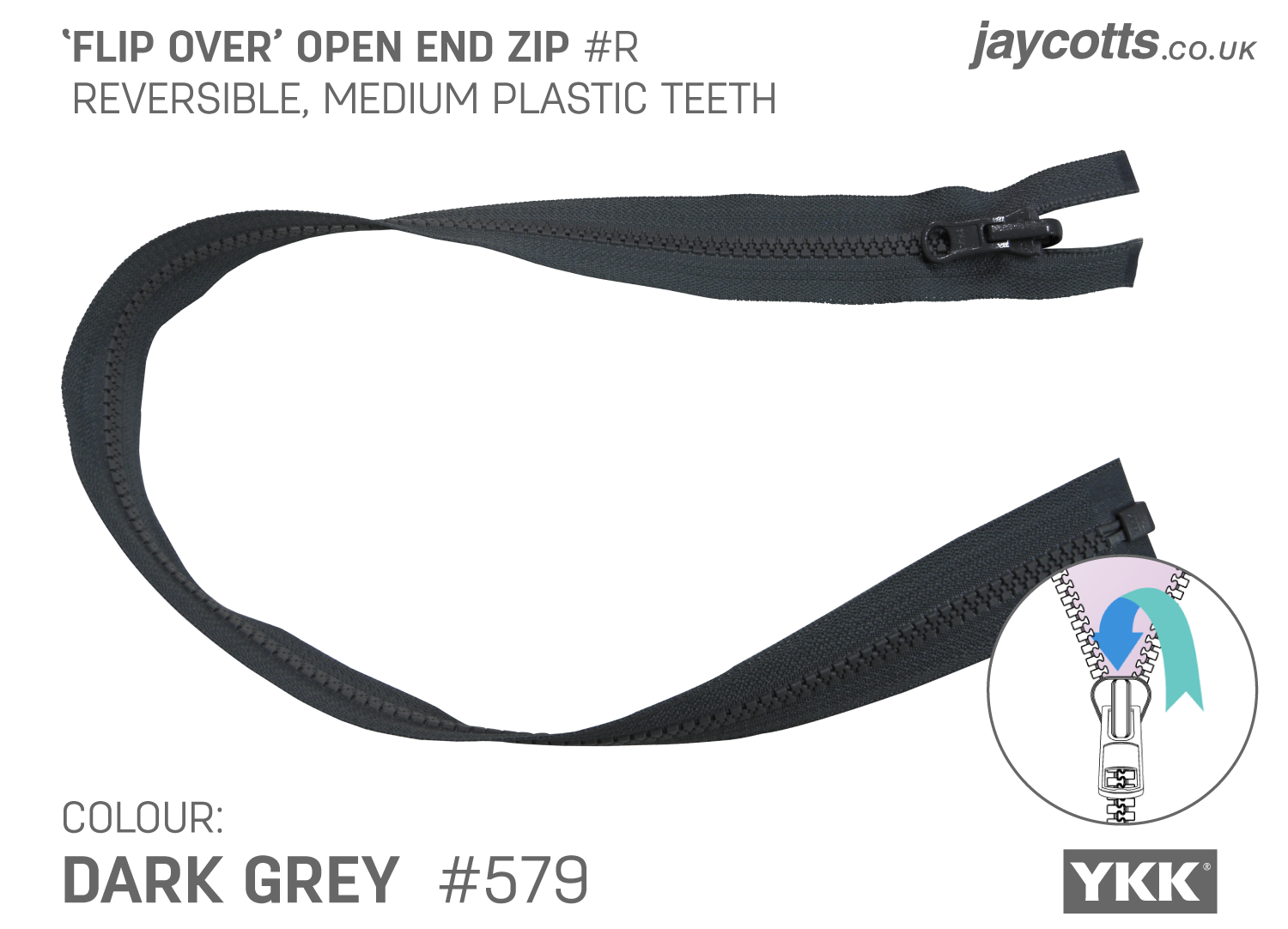 Reversible Open End Zip - DARK GREY