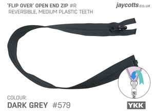 Reversible Open End Zip - DARK GREY from Jaycotts Sewing Supplies