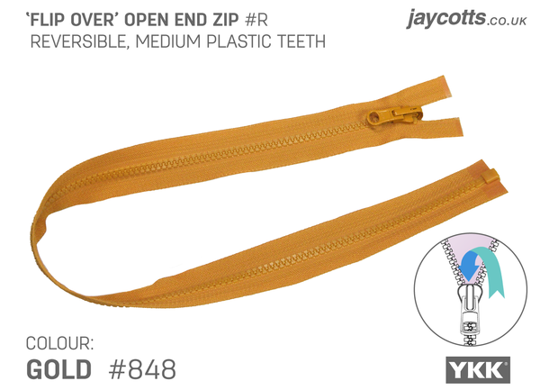 Reversible Open End Zip GOLD
