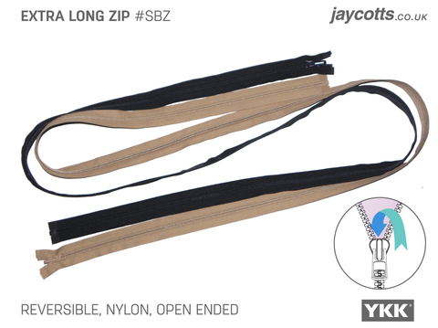 Open Ended Zip - Nylon (Reversible) EXTRA LONG