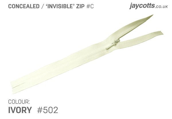 YKK Concealed Zip - IVORY from Jaycotts Sewing Supplies