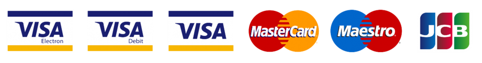Secure payment. We accept all major payment cards.