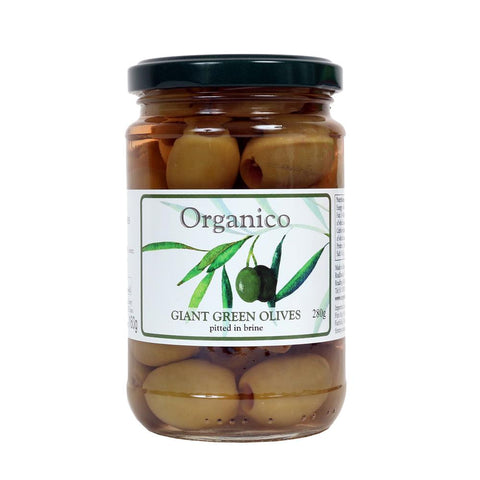 Org Giant Green Olives in Brin 280 g