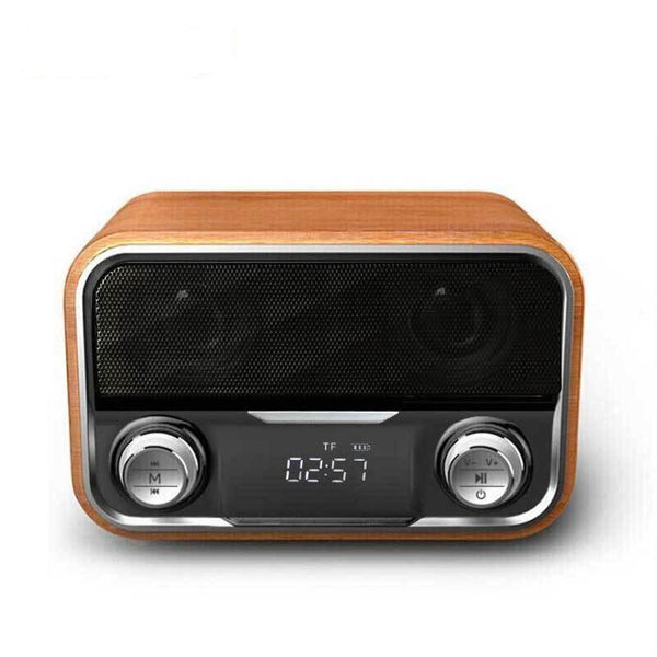 Beautiful High-Quality Wooden Bluetooth Speaker with FM Radio and Digital Clock! - Funraiden