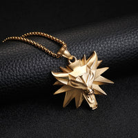 THE WITCHER Luxury Wolf Pendants | 24'' Chain necklace | Black & Gold
