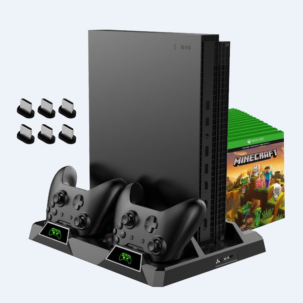 Vertical Cooling Stand for Xbox One/S/X, Dual Controller Charging Station with LED Indicators!