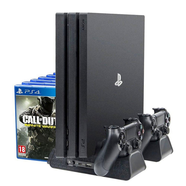 PS4/ PS4 Slim/ PS4 Pro Cooler, Multifunctional Vertical Cooling Stand, Dual PS4 Controller Charger!