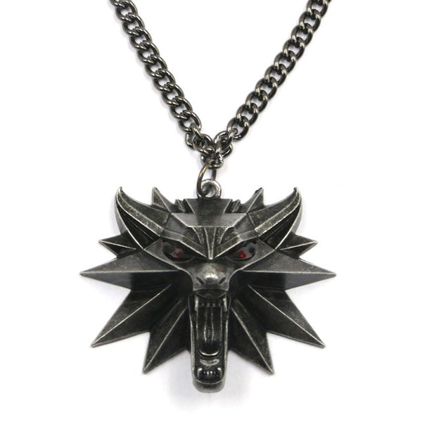 The Witcher 3 Necklace with White Wolf Medallion and Chain!