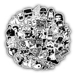 50 Pieces of Black and White Cartoon Stickers!
