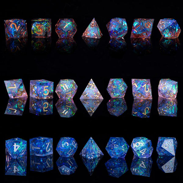D&D/TRPG Game Dice! Carefully Handcrafted and Balanced Dice Sets with Sharp Edges and Beautiful Inclusions!