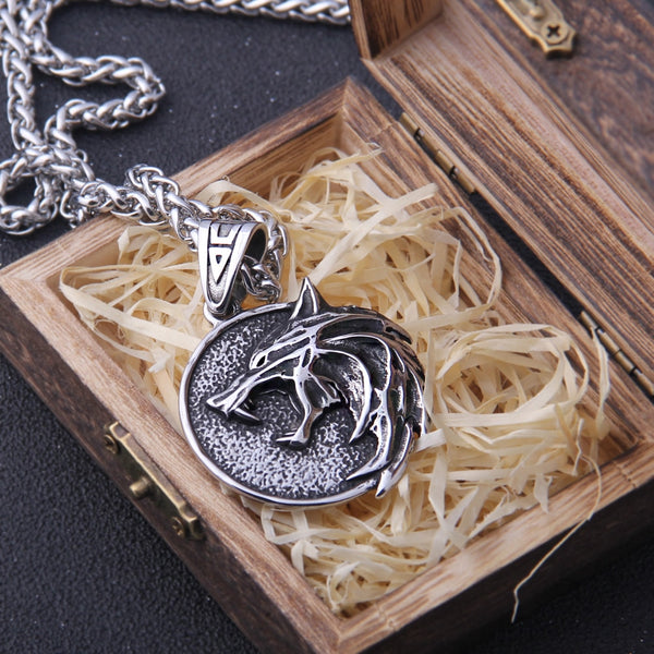 Witcher Wolf Pendant Geralt of Rivia - Netflix Series The Witcher Medallion & Necklace!