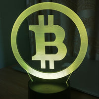 Bitcoin Logo 3D LED Night Lamp with 7 Colors!