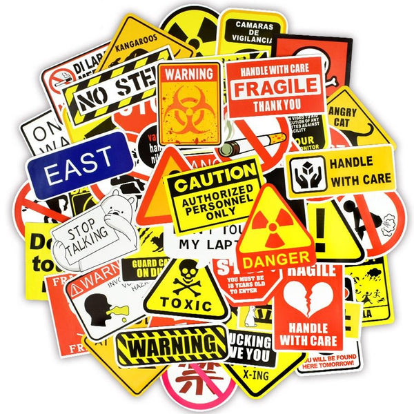 50 Pieces of WarningSigns Stickers!