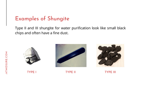 Examples of shungite stones, type I, II, and III. Type one is shiny and looks grey-silver. Types two and three are black, and could have a fine dust.