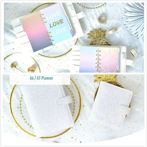 A6/A7 White Glitter Leather Binder Planner with Refillable Inserts
