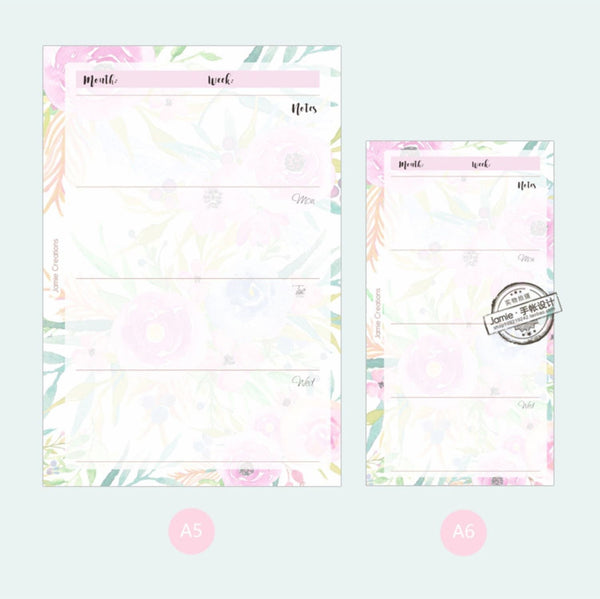 A5/A6 Floral Weekly Plan Binder Planner Refills (40 Sheets)