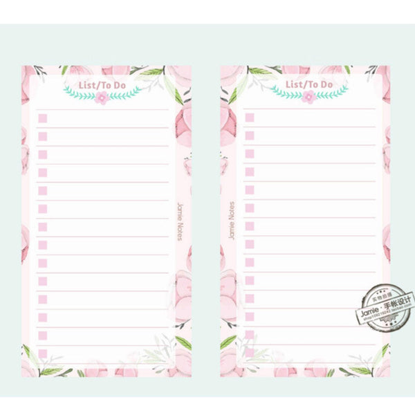 A5/A6 Floral To-Do-List Binder Planner Refills (40 Sheets)