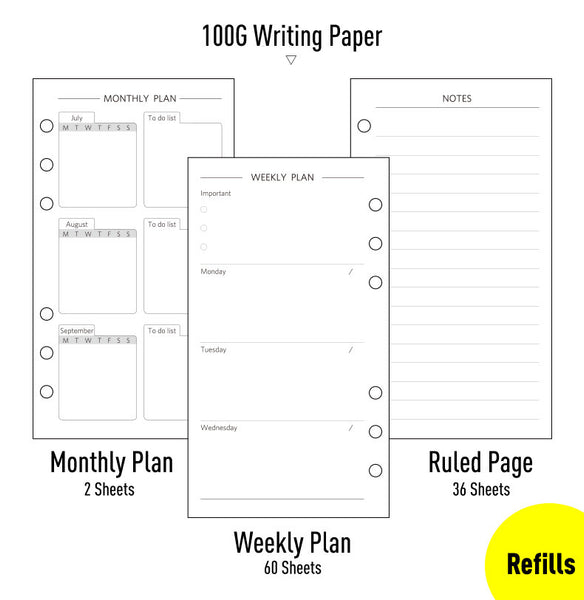 A6 Premium Flannel Planner with Refillable Inserts