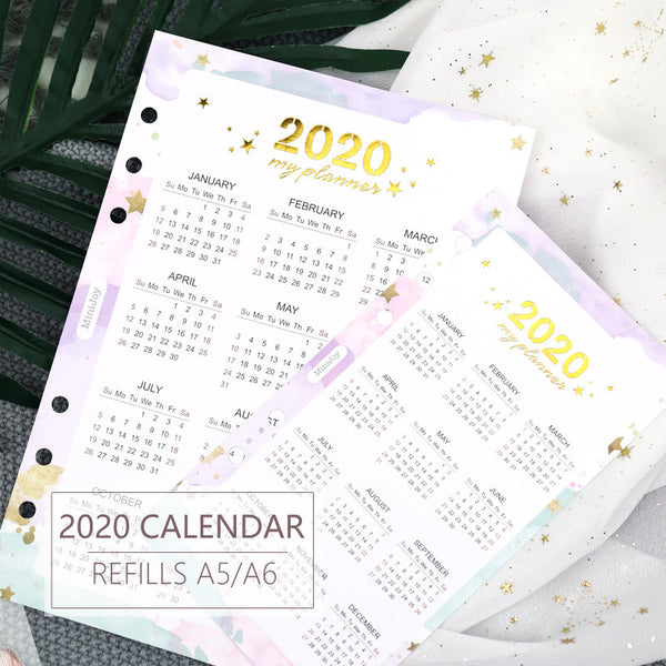 A5/A6 Calendar 2020 Three-Fold Binder Planner Refills Set (46 Pages)